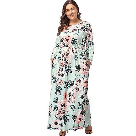 d5b15542544 Lover-Beauty Kleider Damen große Größe Blumen gedruckt Kleid ...