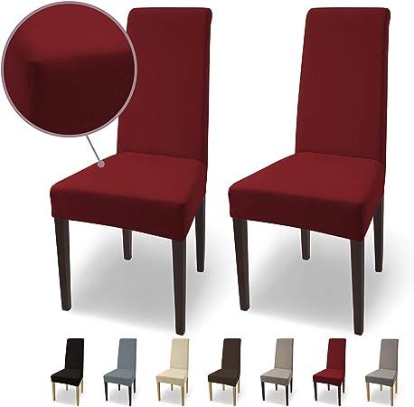 Housses de chaises SCHEFFLER Home Natalie 2 Set, Coton élastiques Couverture Stretch, revêtement de Chaise, Bordeaux