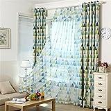 "SHZONS Geometry Triangles Patterns Window Screening Curtain Drape Living Room Bedroom Decoration 39.37""x 98.42"""