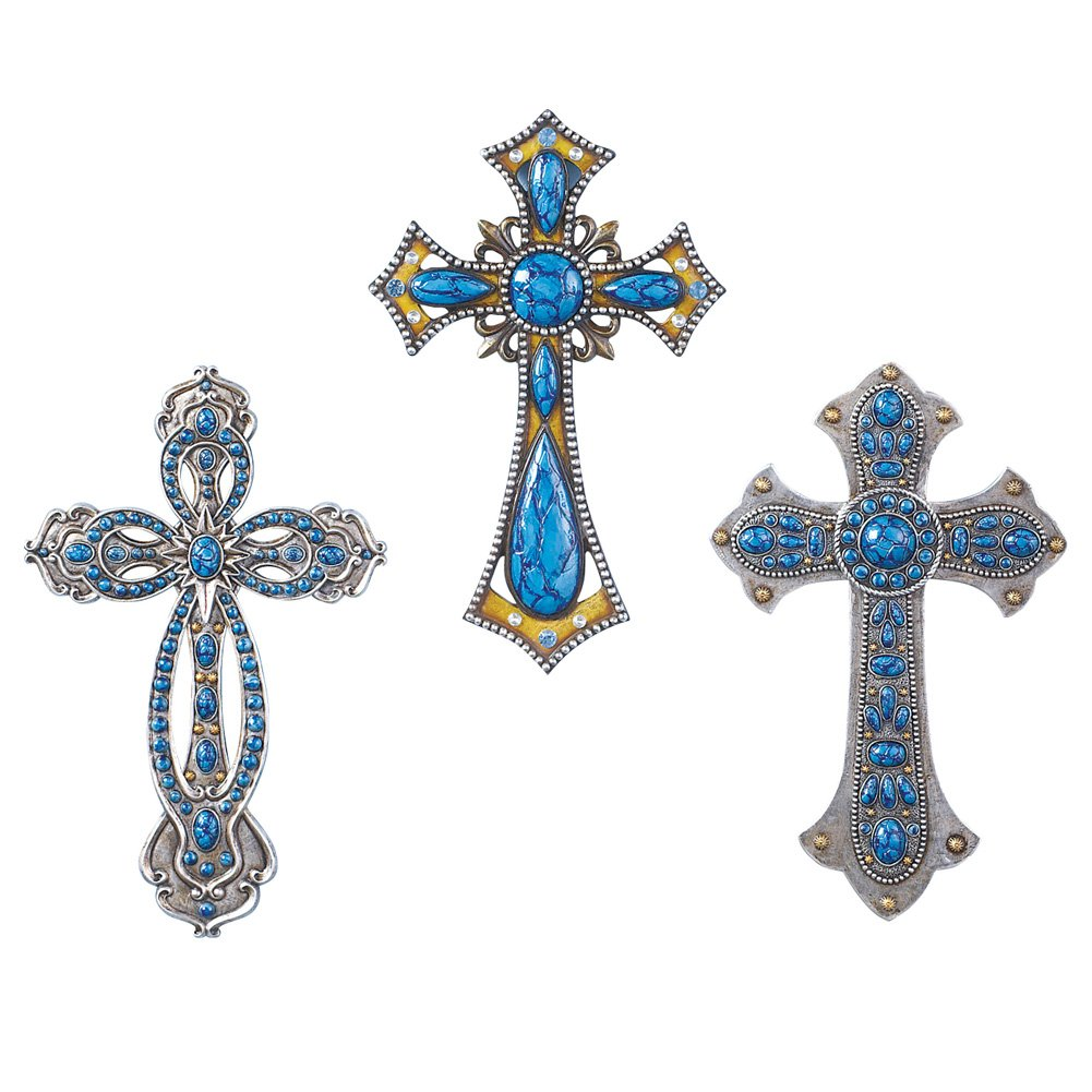 Collections Etc Western Turquoise Wall Cross - Set of 3