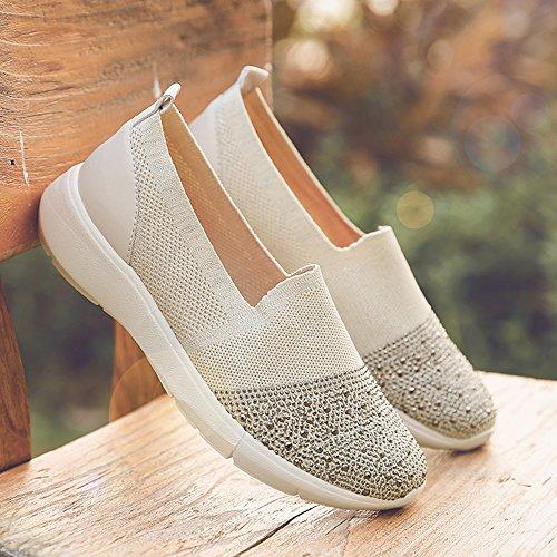 Donne Uruoi Scivolano Su Sneakers Scarpe Da Ginnastica Leggere Scarpe Da Ginnastica Causali Per Donne E Ragazze Beige