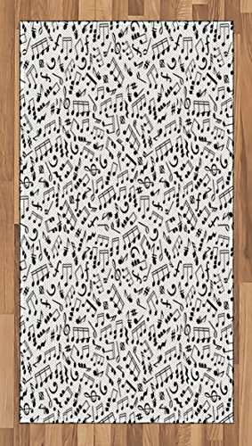 Ambesonne Black and White Area Rug, Musical Composition with Notes Quavers Chords Treble Clefs Sheet Elements, Flat Woven Accent Rug for Living Room Bedroom Dining Room, 2.6 x 5 FT, -