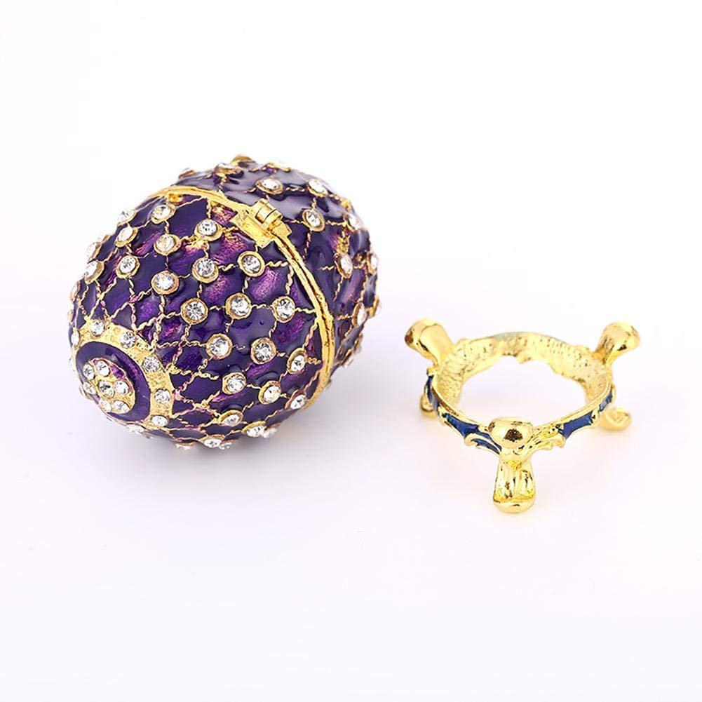 Scatola decorativa per uova Scatola porta gioie uovo decorativo mini stile Faberg/é adatta per la raccolta di gioielli per la decorazione domestica