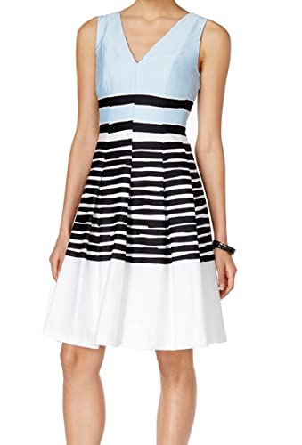 Anne Klein Womens Striped Sleeveless Party Dress