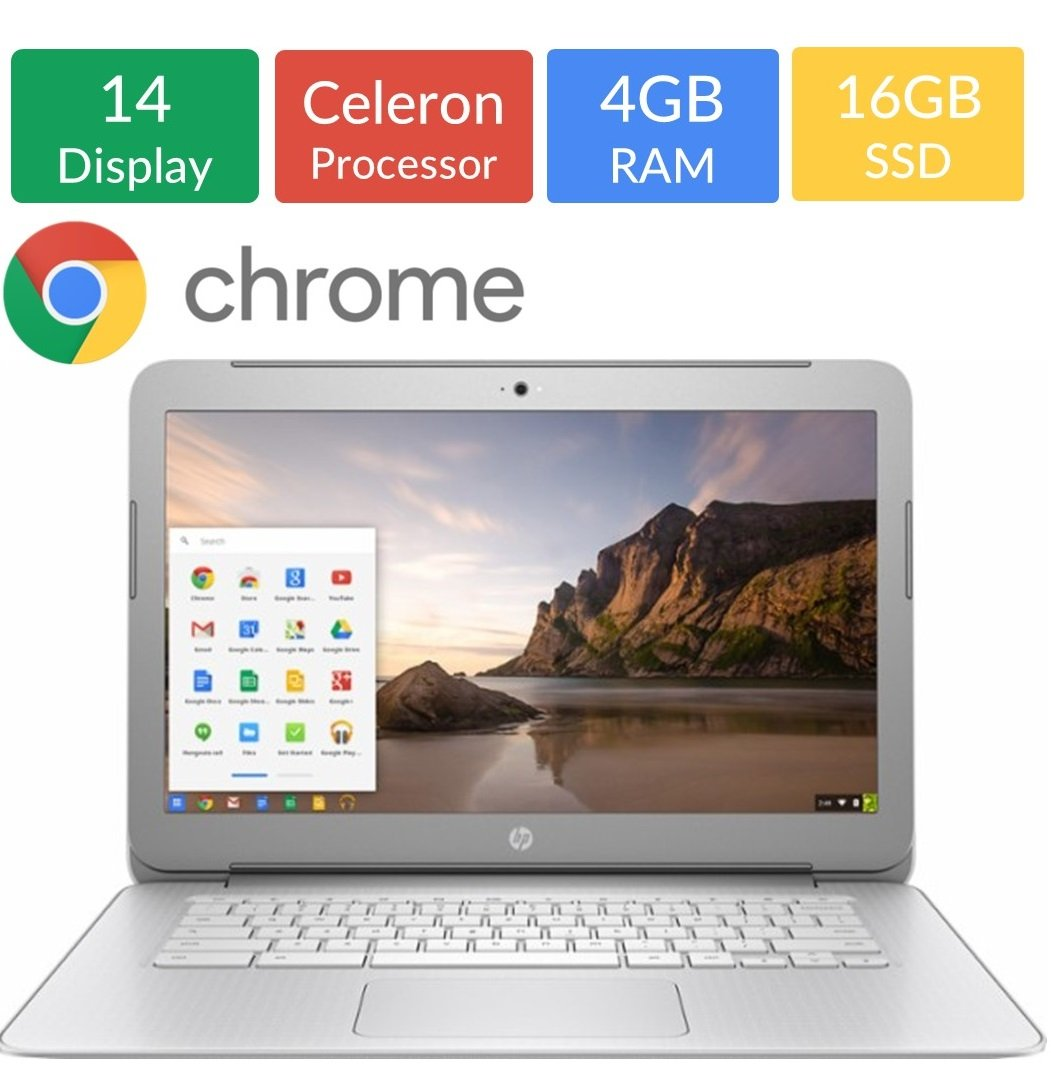Newest HP 14-inch Chromebook HD SVA (1366 x 768) Display, Intel Dual Core Celeron N2840 2.16GHz, 4GB DD3L RAM, 16GB eMMc Hard Drive, Bluetooth, HDMI, Stereo speakers, HD Webcam, Google Chrome OS by HP (Image #1)