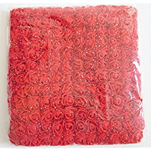 Artfen Mini Fake Rose Flower Heads 144pcs Mini Artificial Roses DIY Wedding Flowers Accessories Make Bridal Hair Clips Headbands Dress (Bottom add Gauze) Red 29