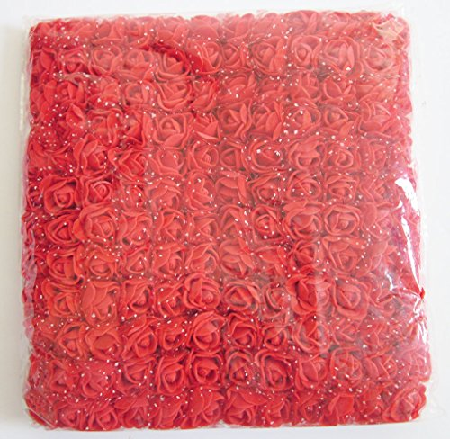 (Artfen Mini Fake Rose Flower Heads 144pcs Mini Artificial Roses DIY Wedding Flowers Accessories Make Bridal Hair Clips Headbands Dress (Bottom add Gauze) Red)