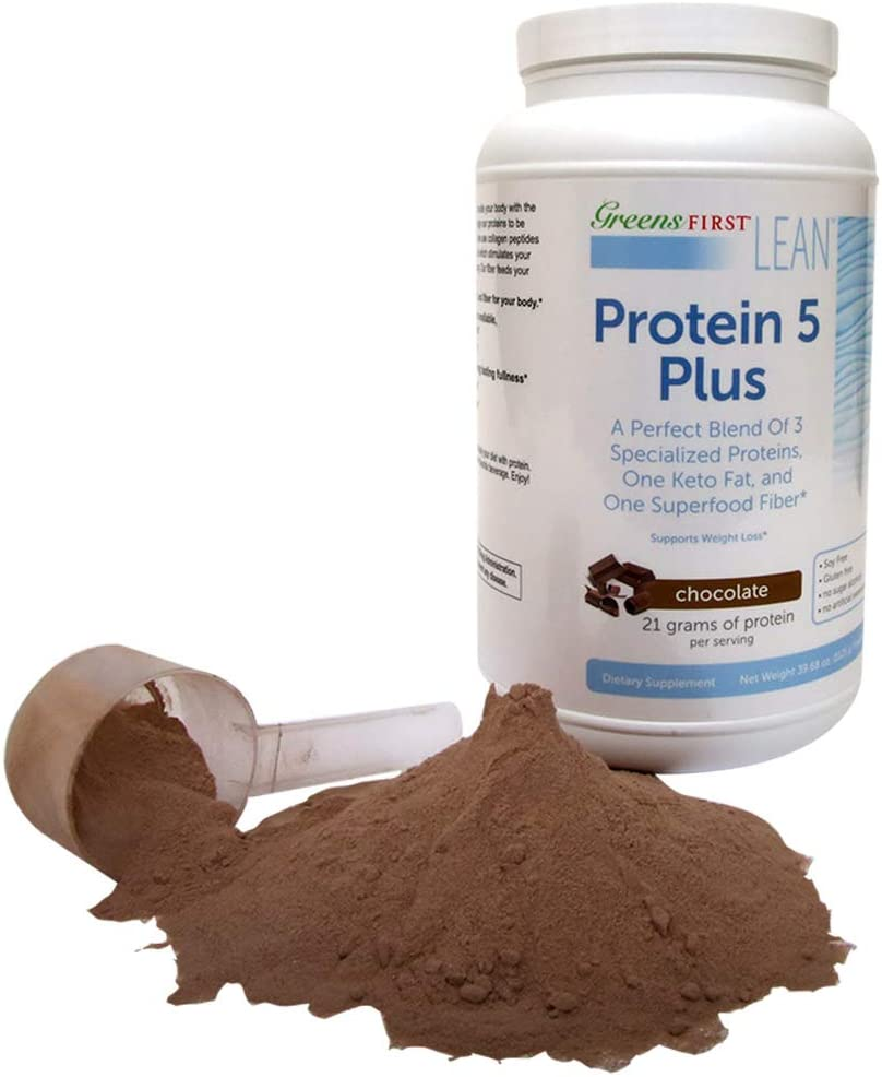 Greens First® Lean™ Protein 5 Plus Dietary Supplement – Protein Powder with Whey Protein, Collagen Protein and MCT Oil – Nutritional Supplement – Chocolate