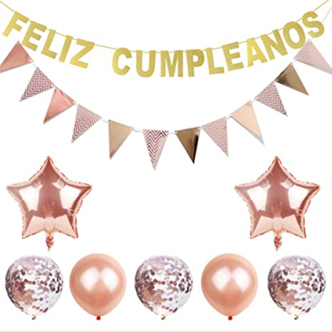 Feliz Cumpleanos Decorations Set, Feliz Cumpleanos Banners Pink Balloons Kit Fits for Birthday Party Decoration (Rose Gold)