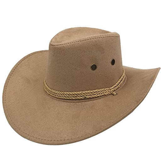 Sandy Ting Men s Outback Faux Felt Wide Brim Western Cowboy Hat (Beige1) at  Amazon Men s Clothing store  a8045020fc2