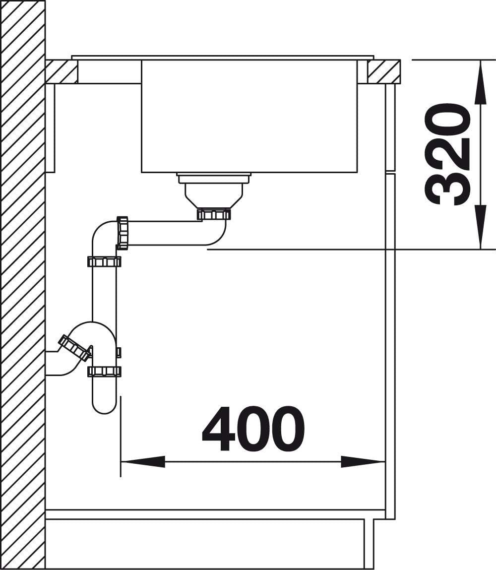 Marr/ón 50 cm Unterschrank BLANCO 518528 Fregadero de Cocina