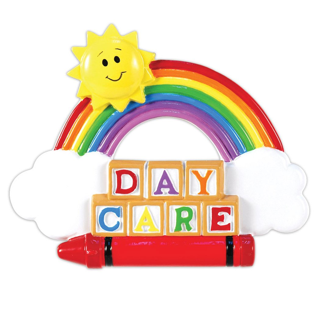 Personalized Daycare Christmas Ornament - Rainbow Clouds Happy Sun Lego Blocks Crayon - 1st Day of Kindergarten Sitter First New Before School Toddler Kids Children - Free Customization