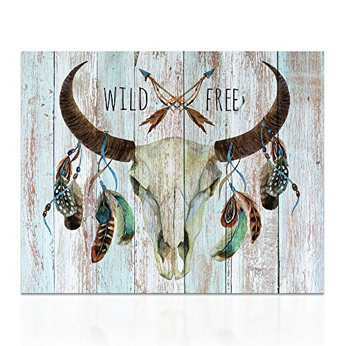 Visual Art Decor Animals Painting Canvas Prints Protect Wildlife Longhorn Bull Skull Dual View Picture for Wall Decor (16