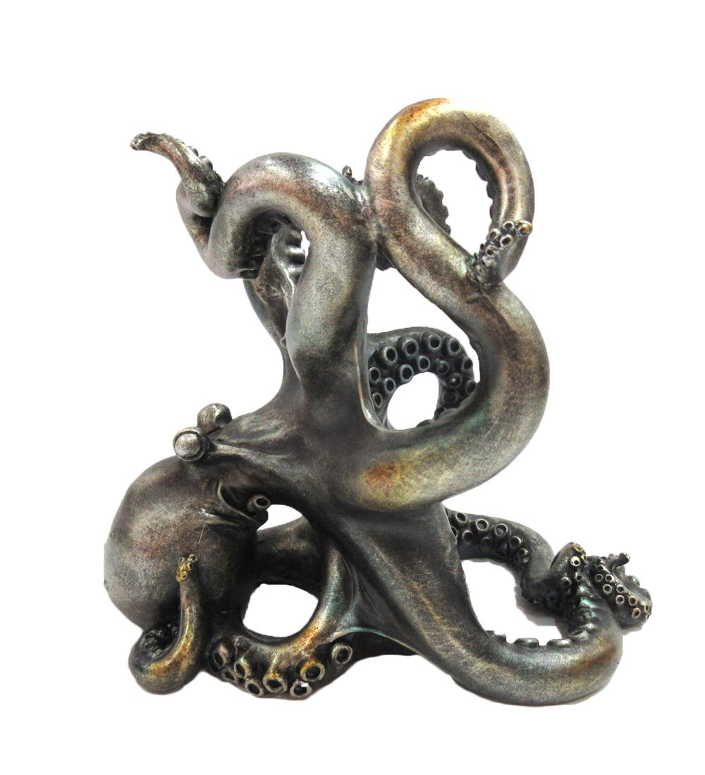 Pacific Giftware Rustic Silver Octopus Wine Holder 7.5 Inch Tall Tabletop Bar Counter Decorative Sculpture