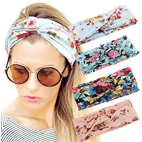 4 Pack Women Headband Boho Floal Style Criss Cross Head Wrap Hair Band Set2