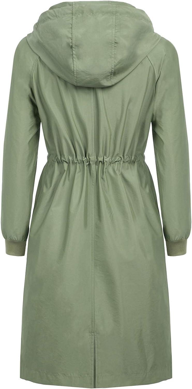 CURLBIUTY Women Waterproof Long Raincoats Lightweight Hooded Outdoor Rain Jacket