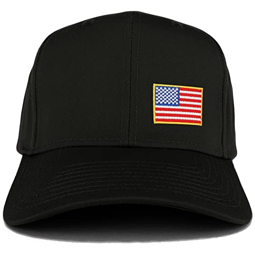 a883a697230 Small Yellow Side American Flag Embroidered Iron on Patch Adjustable Baseball  Cap - BLACK