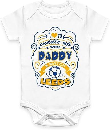 0-18 Months Coco Rascal/® Baby Boy Girl Cuddle Daddy Leeds United LUFC Footie Football White Bodysuit Grow Vest