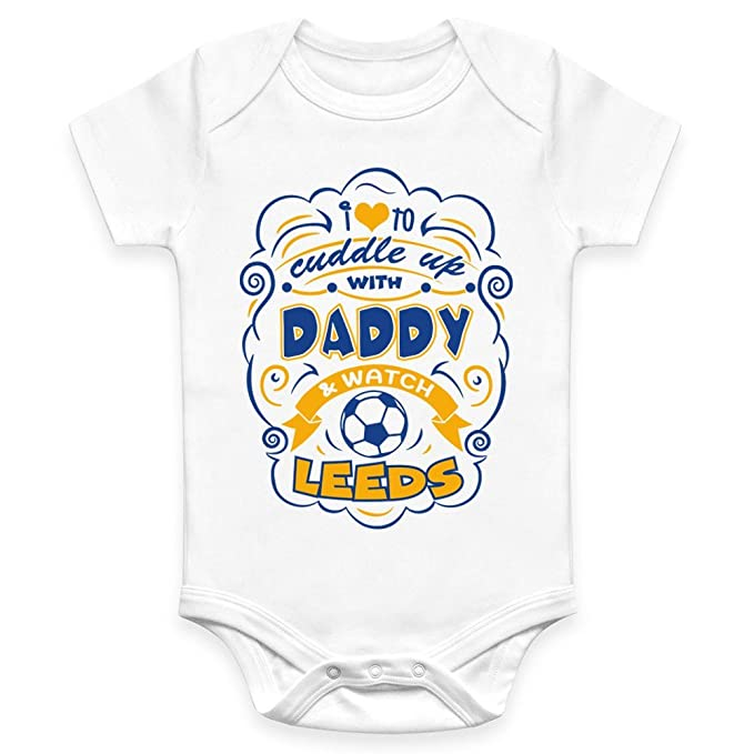 4d3b002657 Coco Rascal Baby Boy Girl Cuddle Daddy Leeds United LUFC Footie Football  White Bodysuit Grow Vest (0-18 Months)  Amazon.co.uk  Clothing