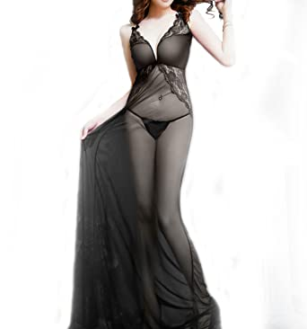 643a16fea8b Female Sexy Lingerie Lace Nightgown Long Slip Sleeveless Sleepwear Full  Length Night Dress Sexy Night Wear for Women