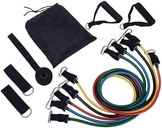MIHUNTER Bandas Elásticas,150 lbs Set de Bandas de Resistencia,11 PCS con 5 Bandas Elásticas para Ejercicios Físicos Fitness Entrenamiento Crossfit, ...