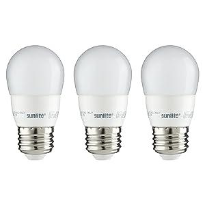 Sunlite A15/LED/5W/D/FR/30K/CD/3PK Dimmable 3000K Medium Base Warm White LED Appliance A15 5W Light Bulb (3 Pack), Frosted