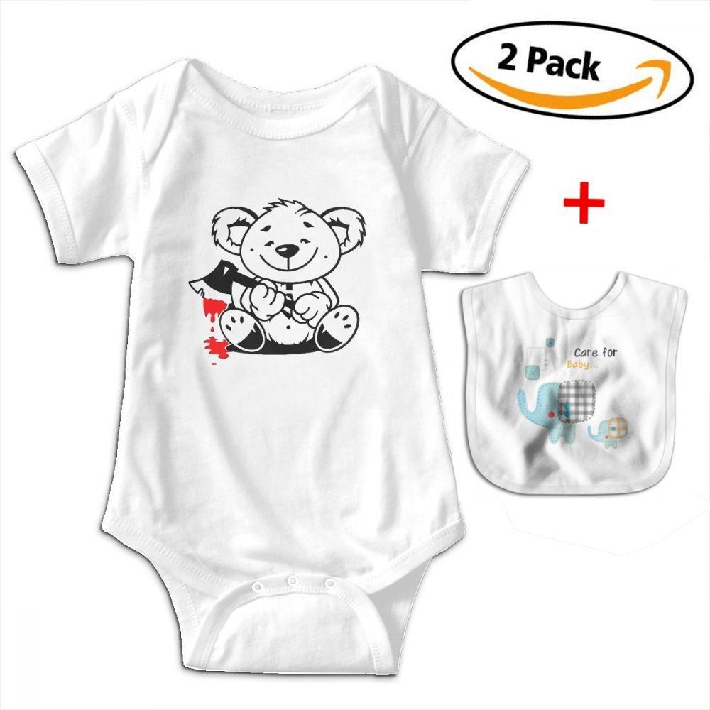 Bear Bloody Ax Baby Bodysuits Funny Short Sleeve