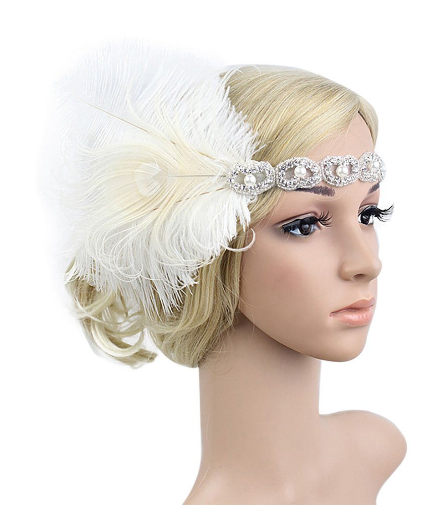 Urban CoCo Women's Vintage 1920s Great Gatsby Flapper Headband Feather Wedding Party Headpiece (#4 White)