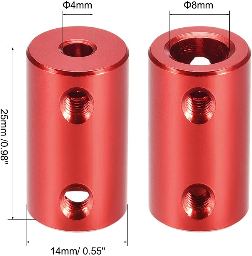 uxcell 1//8 Inch to 6mm Bore Rigid Coupling Set Screw L25XD14 Aluminum Alloy,Shaft Coupler Connector,Motor Accessories,Dark Red,2pcs