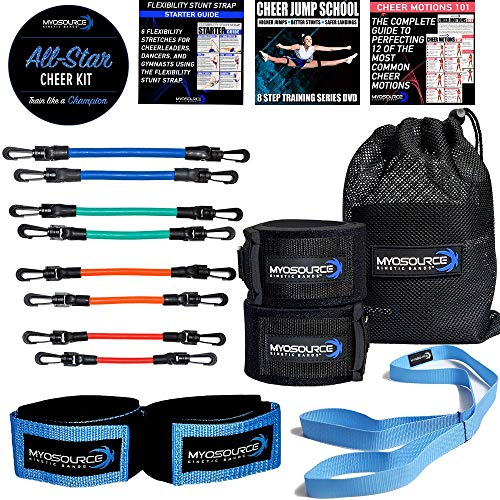 - Kinetic Bands All-Star Cheer Kit - Improve Cheerleader Fitness and Performance, Flexibility Stunt Strap, Tumbling Ankle Straps, Cheerleading Workout DVD (User Weight is More Than 110 lbs or 50 kg)