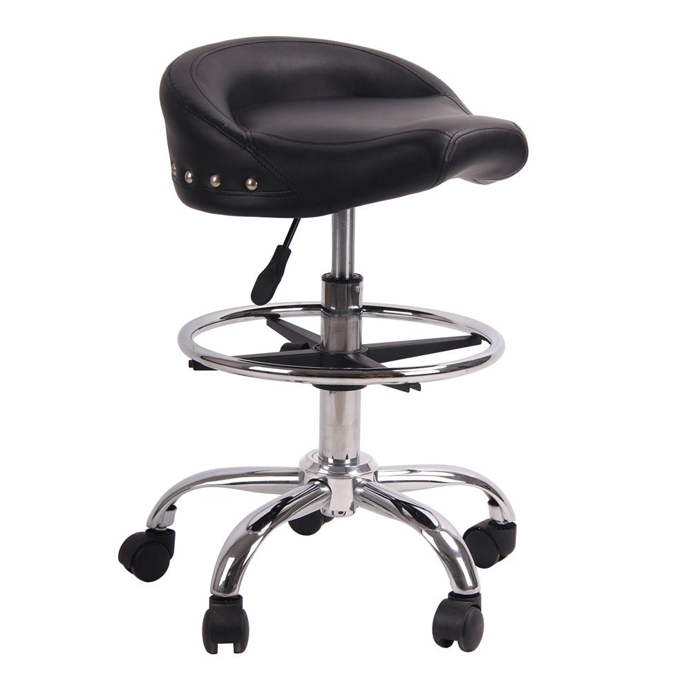 Adjustable Rolling Swivel Stool Hydraulic Saddle Medical Chair with Steel Chrome Frame for Salon Tattoo Spa Massage (Matte Black)