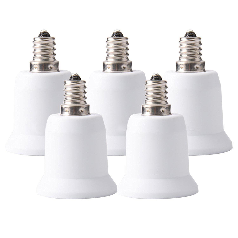 JACKYLED 5-Pack E12 to E26 E27 Adapter Chandelier Light Socket E12 to Medium Socket E26 E27 Converter Bulb Base Adapter Converter