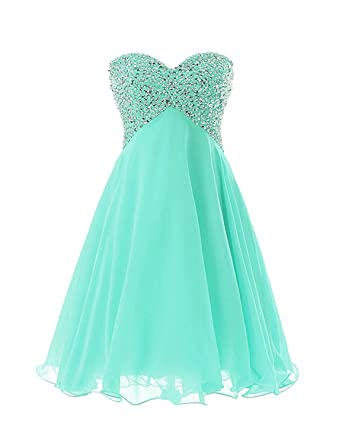 179fa06760 Chiffon Knee Length Homecoming Dress Strapless Evening Cocktial Party Gown  Aqua US2