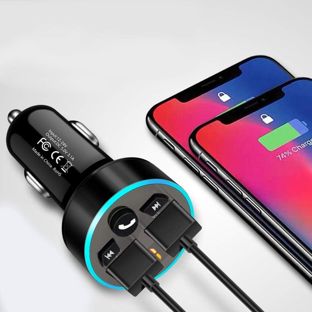 QC3.0 Lecteur Bluetooth Mp3 De Voiture Transmetteur FM Chargeur De Voiture Mp3 Bluetooth Pour Voiture Chargeur De Voiture Multifonction 5.0 Charge Rapide De Voiture Double USB Bluetooth DOr