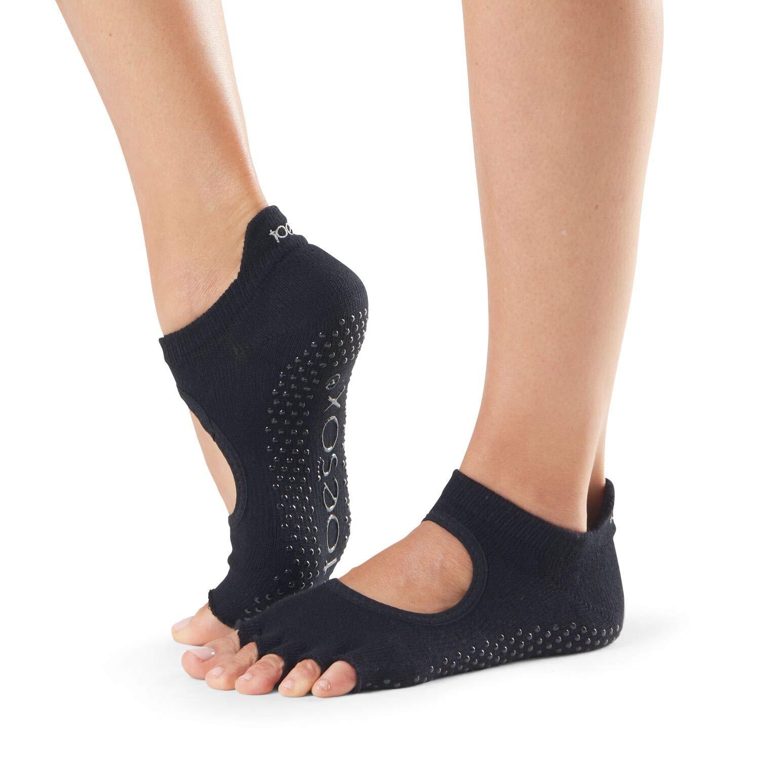 Toesox Half Toe Bellarina Calcetines de Yoga, Unisex Adulto, Negro, M product image