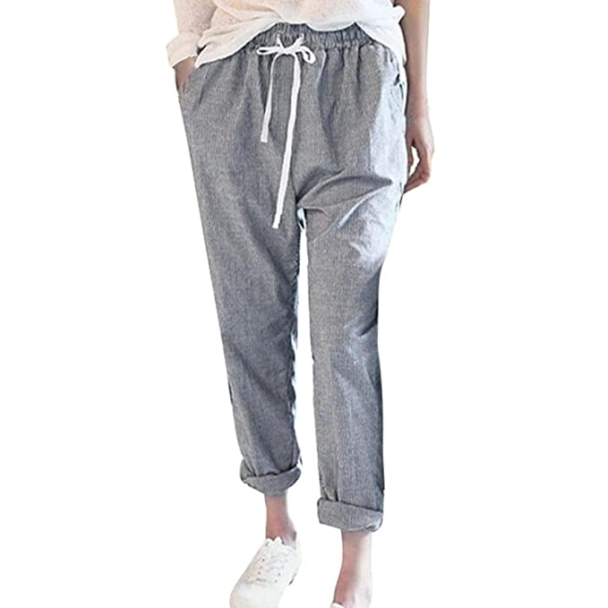 reasonable price enjoy big discount popular brand Women's Elastic Waist Casual Relaxed Loose Fit Cotton Linen ...