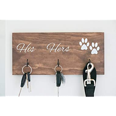 Wall Mounted His Hers and Paws Leash and Key Holder, Dog Lover Gift for Women, 12  by 5.5