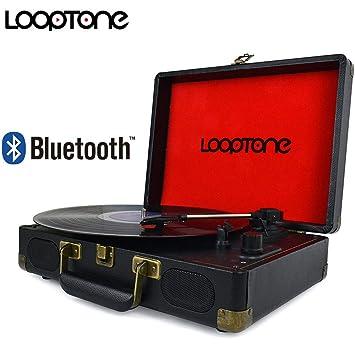 LoopTone Tocadiscos Bluetooth de 3 velocidades con Altavoz ...