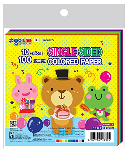 """Jong Ie Nara Premium Craft Paper, 5.9"""" Square, 10 Colors (Single Sided), 100-pack, 60gsm"""