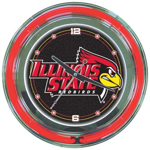 (NCAA Illinois State University Chrome Double Ring Neon Clock, 14