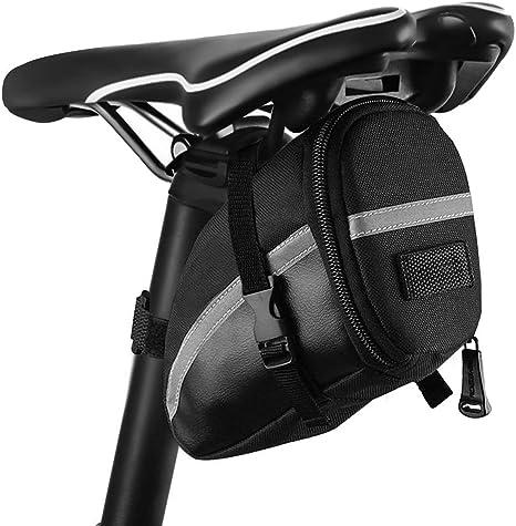 otutun - Bolsa para sillín de Bicicleta, Impermeable, con Soporte para luz Trasera y Elementos Reflectantes para Bicicletas de montaña, Bicicletas y Bicicletas de ...