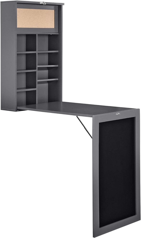 en.casa Klappschreibtisch Schreibtisch zum Ausklappen Wandklapptisch mit Tafel und Pinnwand Dunkelgrau