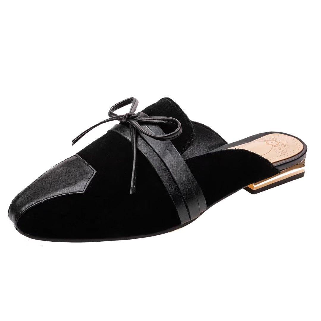 JYshoes Destalonada de Piel Lisa Mujer 39.5 EU|Schwarz(Wildleder)