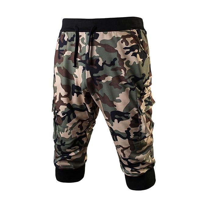 a41dc840c44a Hibote Kurze Sporthose Herren - 3 4 Jogging Shorts Mode Einfarbig  Elastische Taille Hose mit