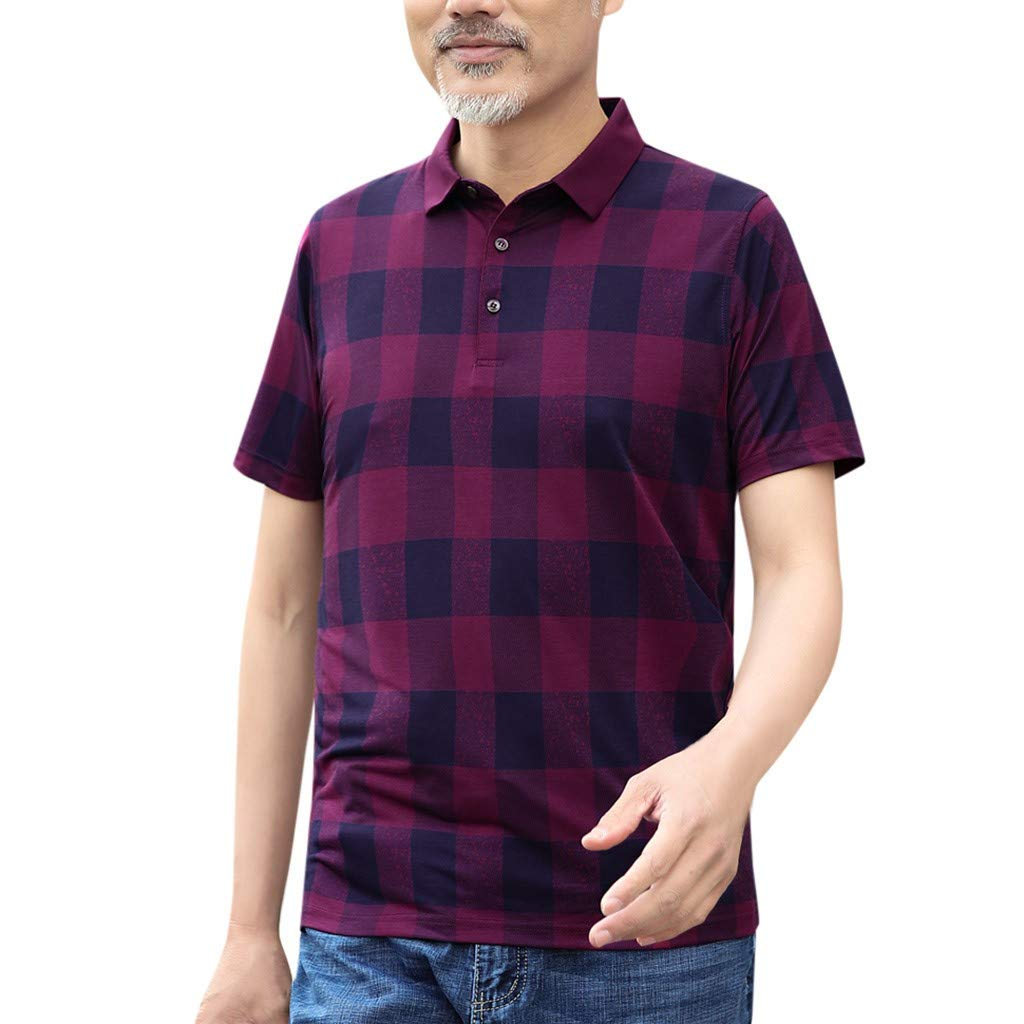 NREALY Camisa Mens Fashion Middle-Aged Plaid Slim Slim Short Sleeve Turn-Down Collar T-Shirts