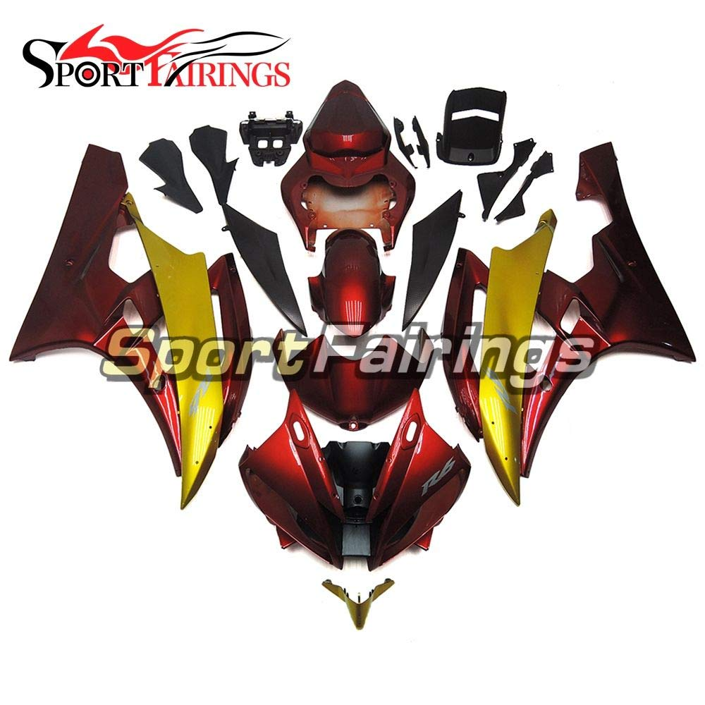 Sportbikefairings ABS Fairing Kits For Yamaha YZF R6 2006 2007 Year 06 07 Motorcycle Body Kits Gold Red Body Frames Bodywork