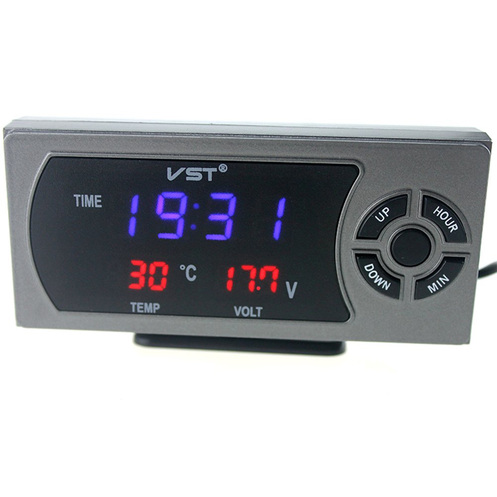 WINOMO Multi-Function 12V Digital Clock Thermometer Voltmeter LCD Monitor Battery Meter  with Dual USB Charger for Car Boat