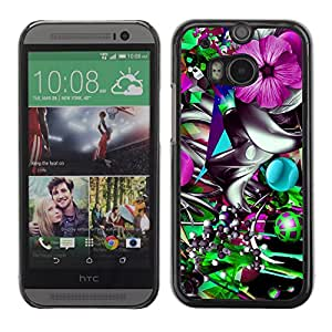 iKiki-Tech Estuche rígido para HTC One M8 - Colorful Flower Abstract Illustration