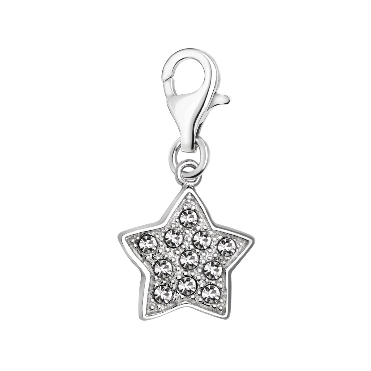 Quiges 925 Sterling Silver White Cubic Zirconia Star Clip On Charm Pendant