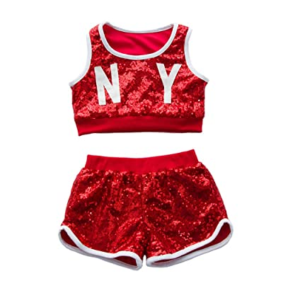 Kids Girls Hip-hop Jazz Performance Costumes Dancing Clothes Sequin School Halloween Set: Clothing